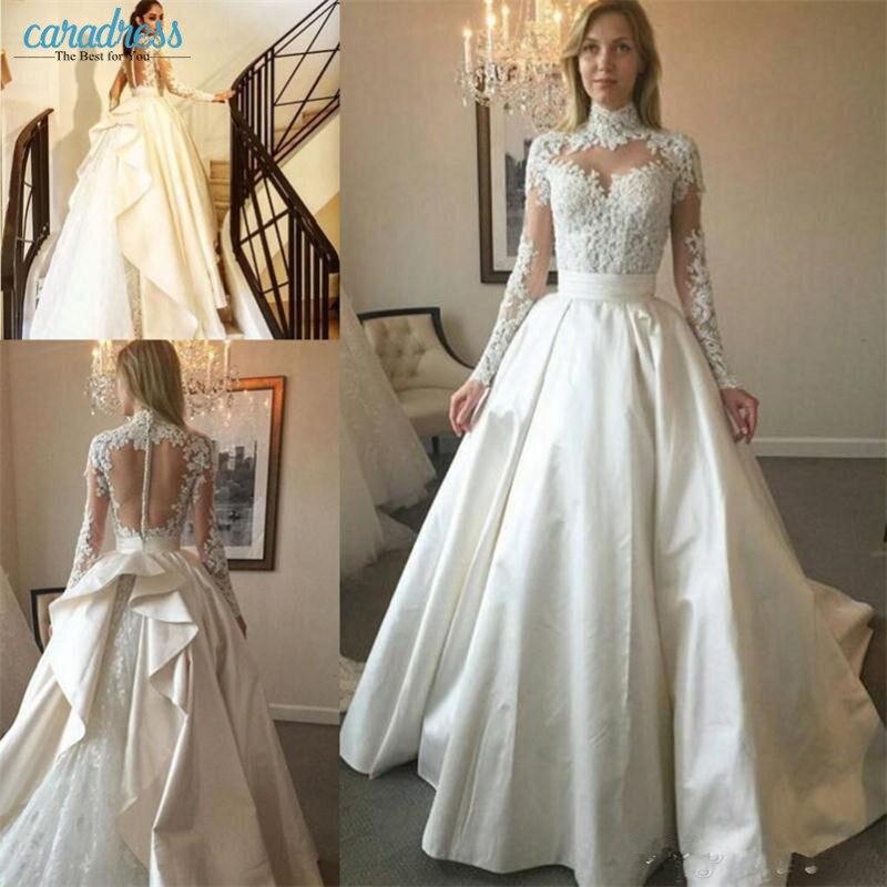Sheer Lace Applique Long Sleeve Wedding Dress V Neck: Vintage High Neck Long Sleeves Wedding Dresses Lace
