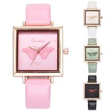 Newly Casual Square Dial Women Butterfly Quartz Analog Business Office Wrist Watch moda mujer 2018 luxury brand NEW