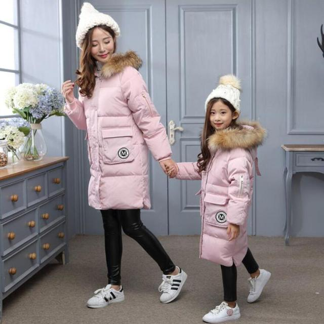Russian Winter mother and daughter Down jackets and coats long hooded warm outwear casual kids and adult outdoor ski jackets