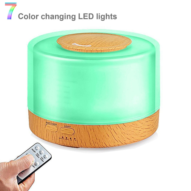 500ml Remote Control Ultrasonic Air Humidifier Aroma Essential Oil Diffuser Air purification with 7 Color Changing LED Lamp