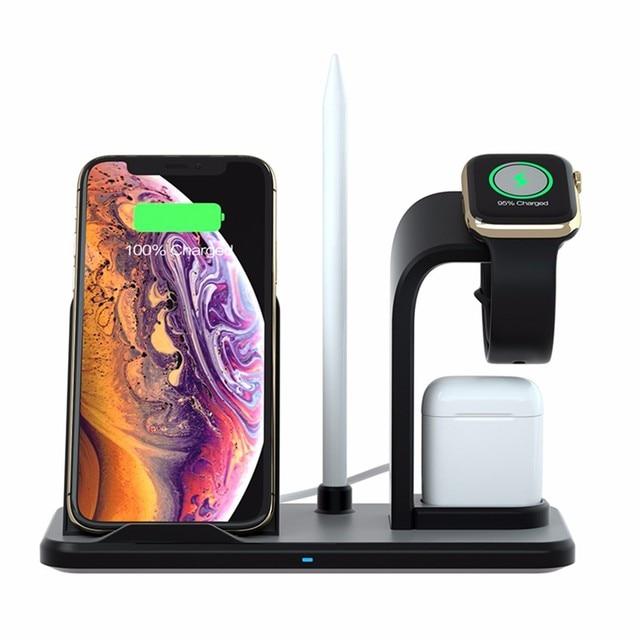 BINMER 4 en 1 cargador inalámbrico de alta calidad de carga rápida AirPower para Apple Watch para iPhone para Airpods cargador anker l0417 #3