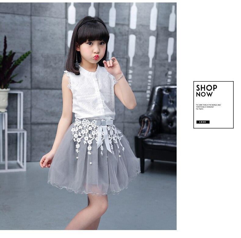 Toddler girl Summer dresses Sleeveless 2-pieces-sets Lace vest + bud silk gauze stitching skirt AliExpress Hot Sale 120 130 140 (12)