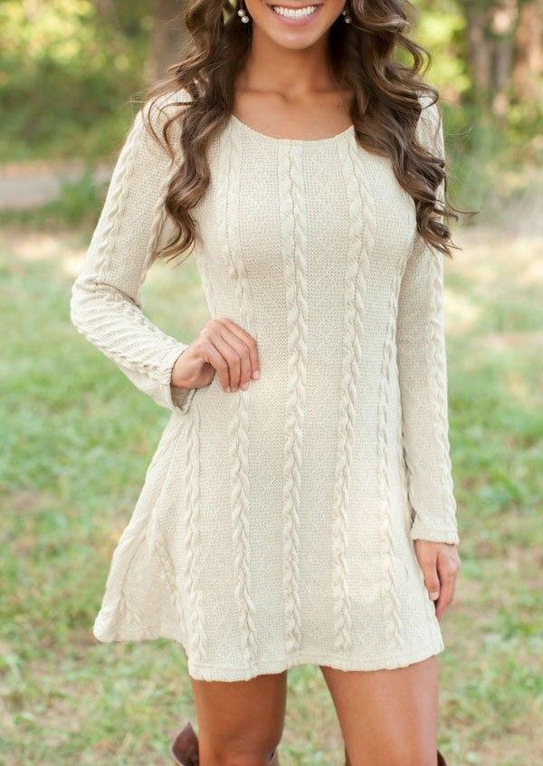 Dámské pletené pletené vesty Šaty Crewneck Pletené s dlouhým - Těhotenství a mateřství