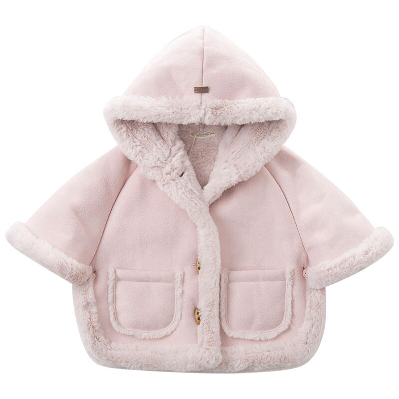 3af7eedcb Autumn Winter Girls Faux Fur Coat Baby Girls Cloak Hooded Kids Jackets For  Girls Warm Parkas