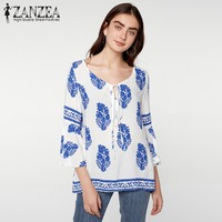 ZANZEA Plus Womens Lace Up V Neck Boho Floral Print Long Flare Sleeve Summer Casual Loose
