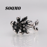 SOQMO 925 Sterling Silver Rose Flower Rings for Women Lover Engagement Gift Romantic Fashion Jewelry Resizable Ring SQM085