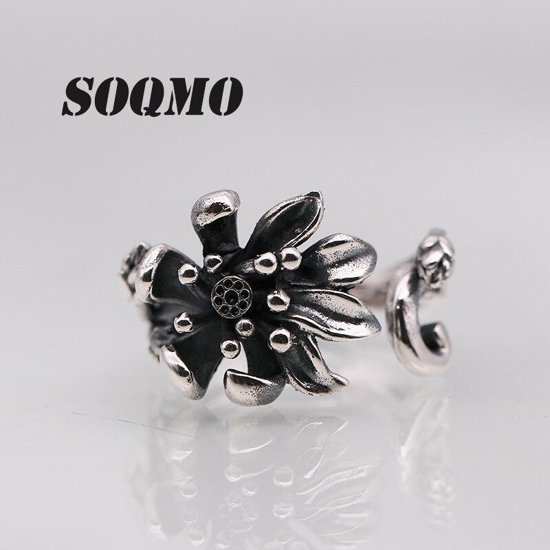 SOQMO 925 en argent Sterling Rose fleur anneaux pour les femmes amant fiançailles cadeau romantique mode bijoux redimensionnable anneau SQM085