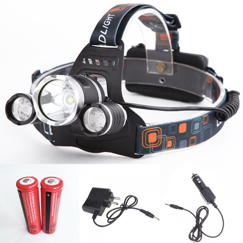 Head Lamp 5000LM 4 Modes Torch XM L T6+2R2 LED Headlamp Headlight 18650  Head Torch Lamp Flashlight+ 2*18650 Battery + Chargers  In LED Headlamps  From Lights ...
