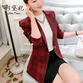 One Button Plaid Blazer 2016 Spring And Autumn Slim Formal Outerwear Female Suit Jacket Casacos Femininos