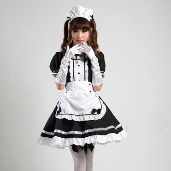 Anime Cosplay Light Tone Maid Costume Cosplay Maid Restaurant  Anime Costume Black And White Halloween Party Uniform Headwear цена 2017