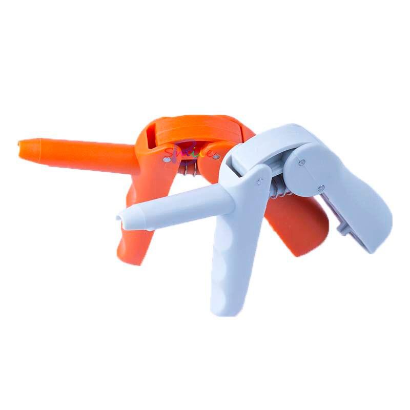 2pcs Dental Dispenser Applicator For Unidose Compules / Carpules Dental Composite Gun Gray/Orange Dentist Lab Instruments