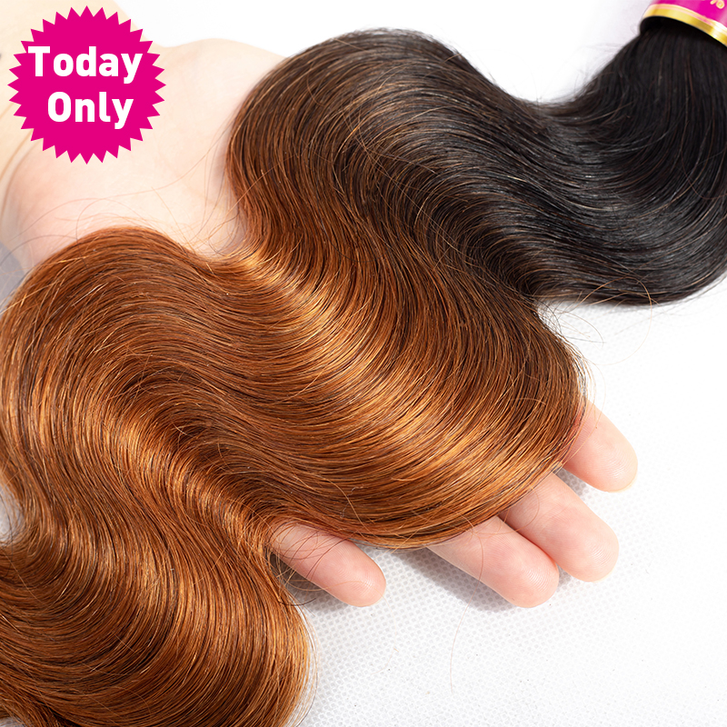 TODAY ONLY Peruvian Hair Bundles With Closure Ombre Body Wave Bundles With Closure Remy Human Hair Bundles With Closure 1b 30-in 3/4 Bundles with Closure from Hair Extensions & Wigs    3