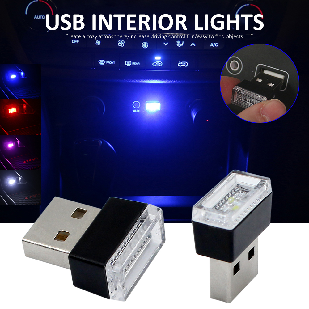 2pcs Atmosphere Lights Car USB LED Decorative Lamp Emergency Lighting Universal Portable ...