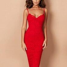 Женское вечернее платье миди ADYCE, красное кружевное облегающее бандажное платье  на тонких бретельках, для клуба, для лета, 2020