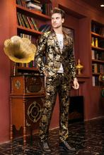 (jacket+pants)male golden suit set wedding groom prom singer trousers performance show nightclub Blazer Outdoors wear party bar