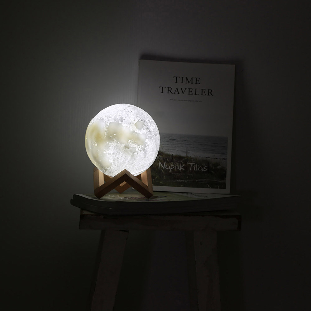 Creative Rechargeable 3D Print Moon Double Color Change Touch Switch Bedroom Bookcase with Night Light Home office Ornaments