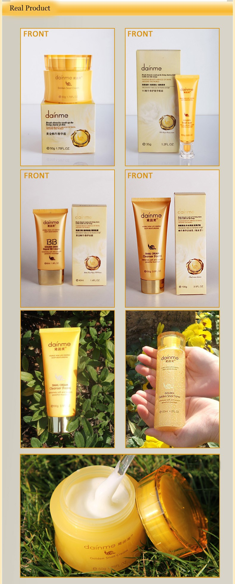 DAINMEI 24K Gold Snail Skin Care Set & Essence Cream Eye Cream BB Creams Toner Facial Cleanser& 5pcs Face care Set 5