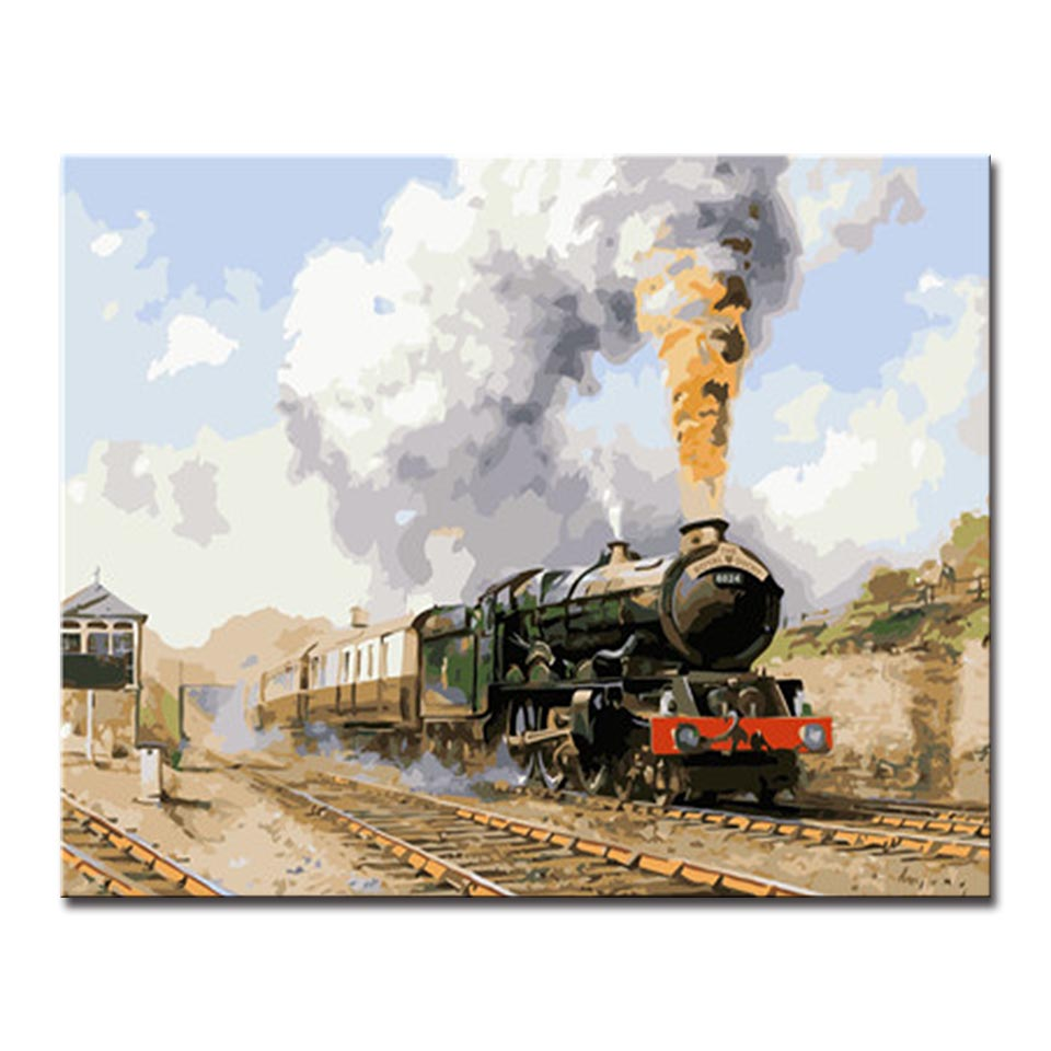 Smoking Old Fashioned Trains Picture By Numbers Kits Hand painted Style On Linen Canvas Home Decor Unique Gift DIY Painting in Painting Calligraphy from Home Garden