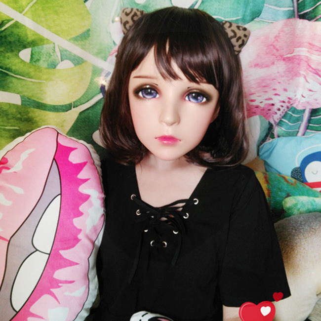 Costumes & Accessories feng-03 female Sweet Girl Resin Half Head Kigurumi Mask With Bjd Eyes Cosplay Japanese Anime Role Lolita Mask Crossdress Doll Non-Ironing