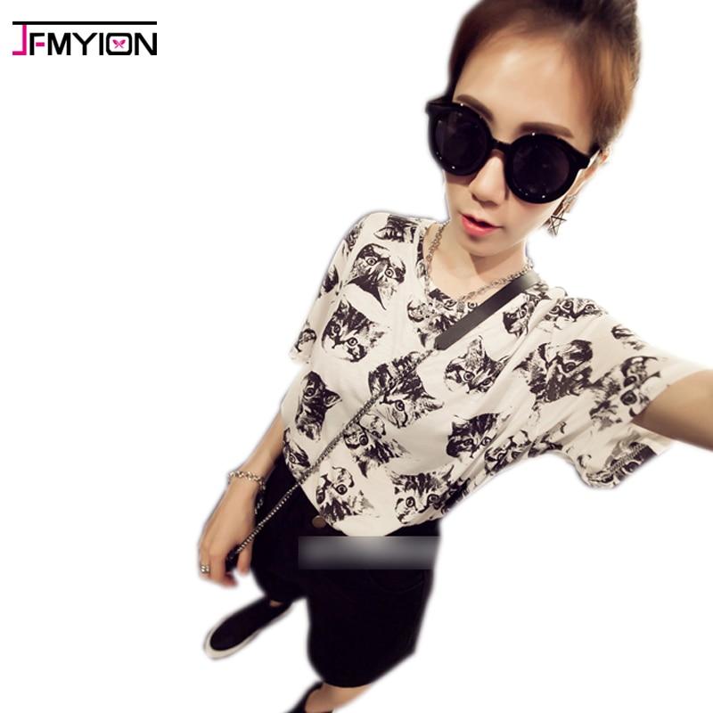 JFMYION Store 2017 summer cats print fashion feminina tee shirt femme clothes for women hot tshirts tumblr poleras camisetas mujer t-shirts