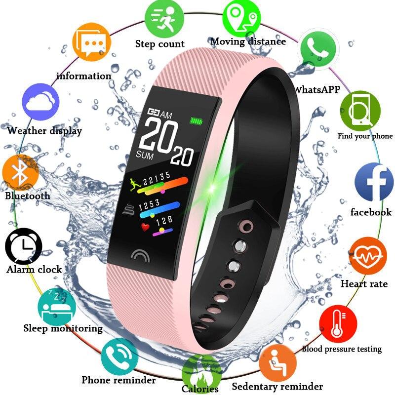 WISHDOIT Vigilanza di Sport Intelligente Schermo A Colori LED Monitor di Frequenza Cardiaca Contapassi Tracker Orologio Impermeabile di Forma Fisica Delle Donne Per Android IOS