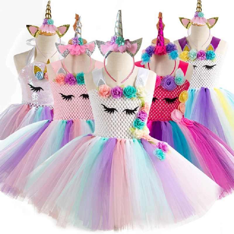 909cfb4fd7b9 2019 Hot New Retail Girls Dress Baby Girls Unicorn Beading Floral Mesh Tutu  Dresses Princess Kids