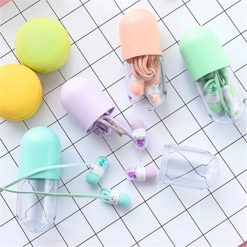 2017 New Pill Cute Earphone in ear Candy Color Girl Earphone Universal 3 5mm for iPhone