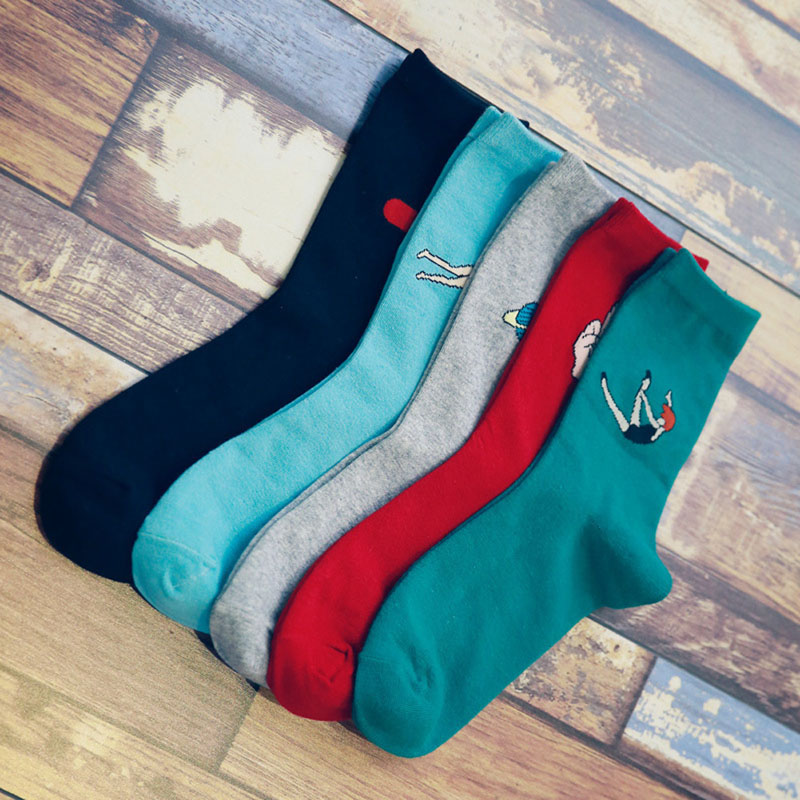 Autumn Winter Women Harajuku Style Candy Color Cartoon Printing Cotton   Socks   F05