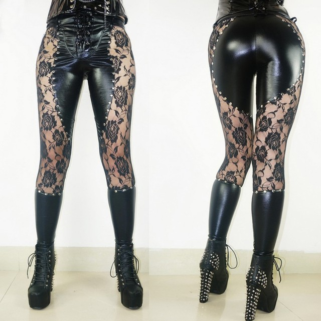 Femmes Mode Leggings En Simili Cuir Imprimé Floral Dentelle Patchwork Mince  Leggings Gotic Rivet Pantalon Moulante fd2b9b1e12e
