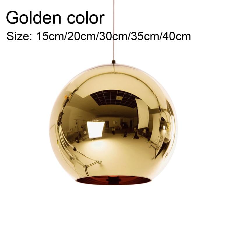 Image 5 - 銅スライバーシェードミラーシャンデリアライト E27 電球 led ペンダントランプ近代的なガラスボール照明glass ball lightpendant lampled pendant lamp -