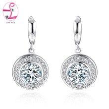 ZHE FAN Blue White Red Big AAA Cubic Zircon Earring Hot Rhodium Plated Dangle Earrings for Women Party Luxury Jewelry