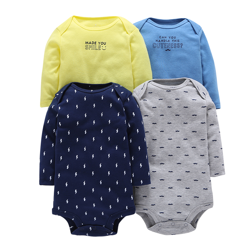 4Pcs/Lot Summer Baby Boys Bodysuits Blue Yellow Grey Print Long Sleeves Cotton Baby Jumpsuit Baby Boys Clothes Sets MKBCROBG080