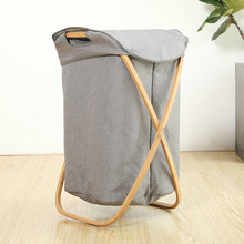 Bathroom Bamboo Laundry Basket Dirty Clothes  Storage Organizer Kids Toys With Lid