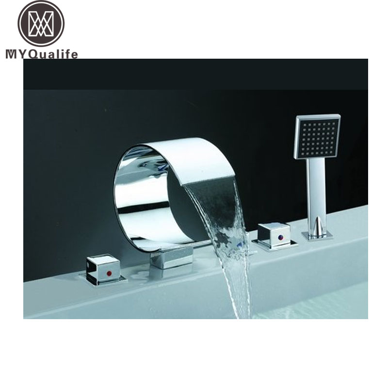 цена на Widespread Waterfall Luxury Bathtub Faucet Chrome Deck Mounted with Hand Shower Tub Filler Mixers