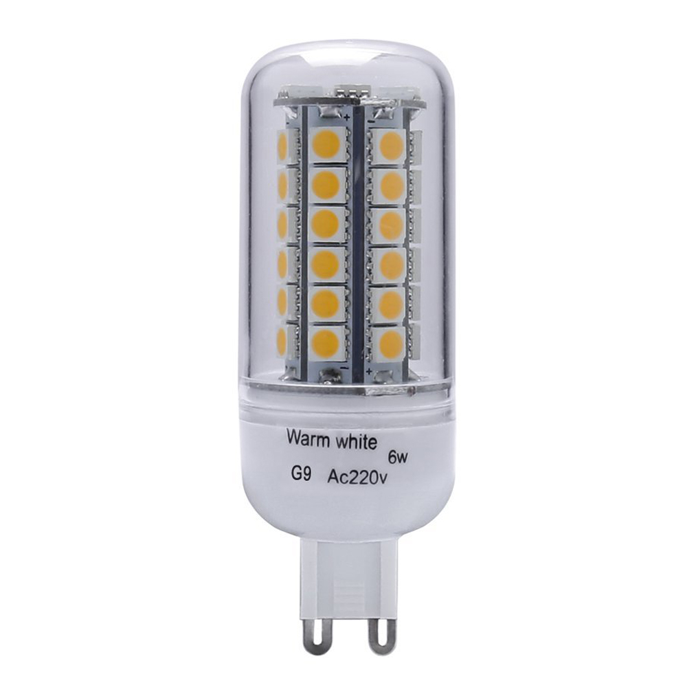 6w 60w halogen bulb equivalent g9 400lumens 48pcs smd5050 warm white 3000k led corn light bulb indoor bar lighting - G9 Led Bulb