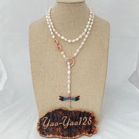 38 White Baroque Pearl Loop Necklace CZ Pave Pendant
