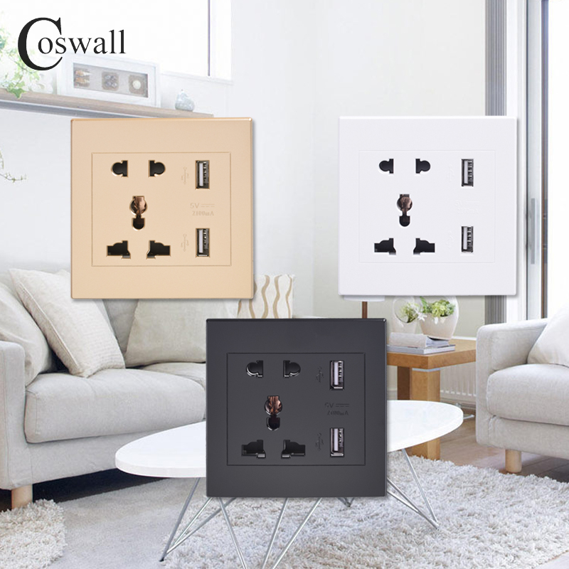 Coswall universal standard 2.1a usb wall socket home wall charger 2 ports usb outlet power charger for phone white/black/gold