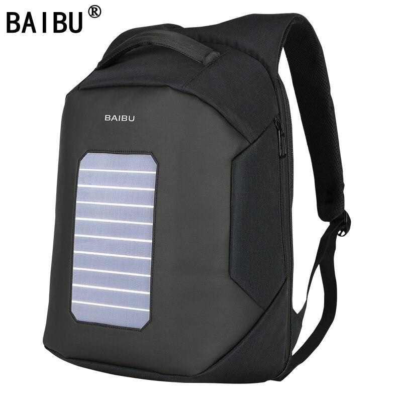 BAIBU hommes sac à dos solaire alimenté sac à dos Usb charge antivol 15.6 ''sac à dos pour ordinateur portable pour hommes sacoche pour ordinateur portable sacs imperméables