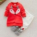 ¡ Caliente! 2 unids/set Encantador Cómodo Niño Niños Niñas Grueso Little Foxes Ropa de Algodón Camisa de Manga Larga + Pantalones Largos de Dibujos Animados Nuevo