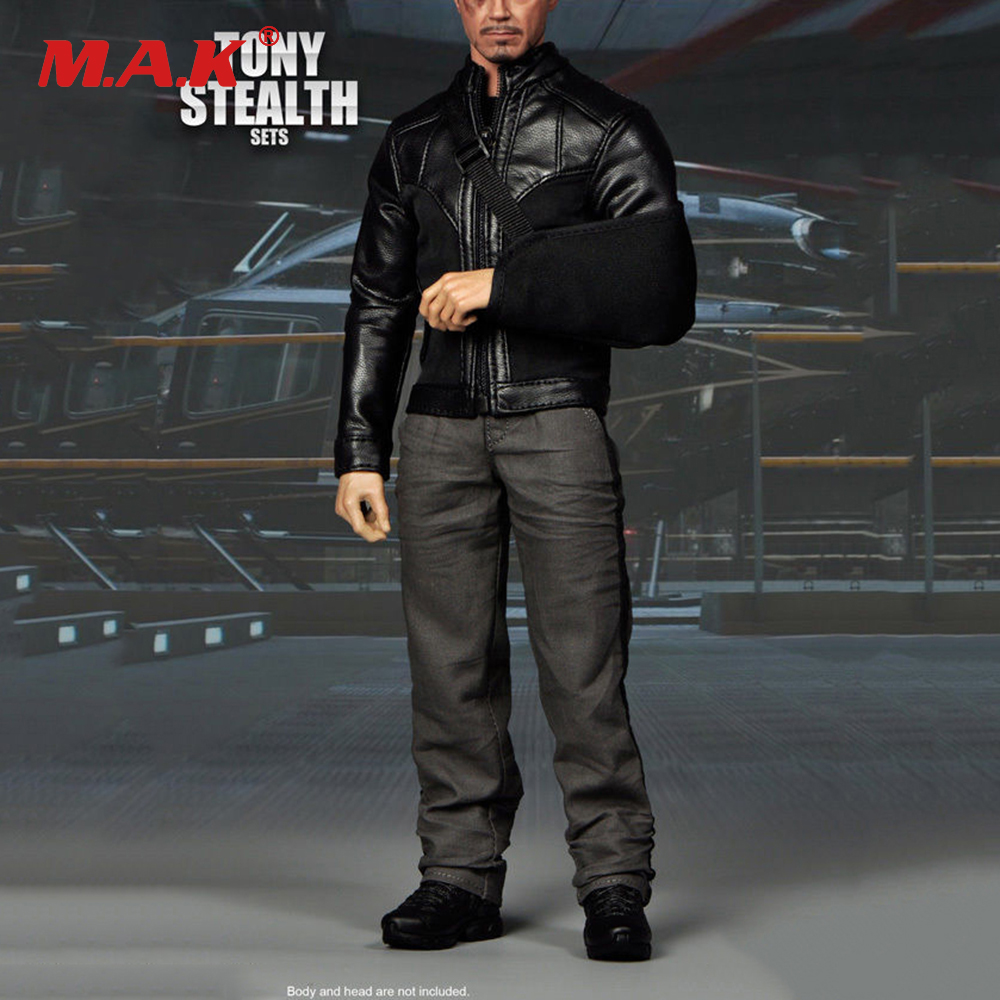 1/6 Scale F-066 Iron Man Tony Stark Stealth Leisure Sets Male Action Figure Clothes mms277 1 6 scale iron man 3 mk 25 striker tony stark action figure limited stock