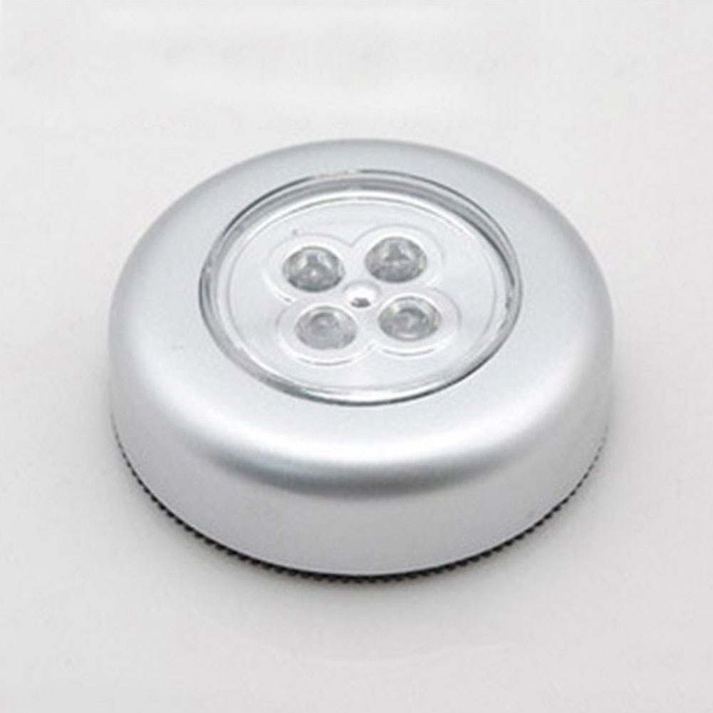 New LED Battery Powered Stick Tap  Lamp Light Wall Kitchen Closet Lighting 4LED Mini Pocket Button Shapes Emergency Light#2