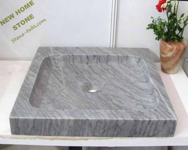 rettangolare lavelli marmo grigio pietra bagno lavabo moderno design ...