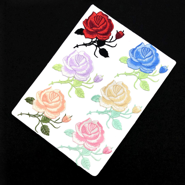 Rose Embroidery Cloth With Cheongsam Decorative Accessories Backing Patch Manufacturer Direct Sales Coat Repair Subsidy Stamp