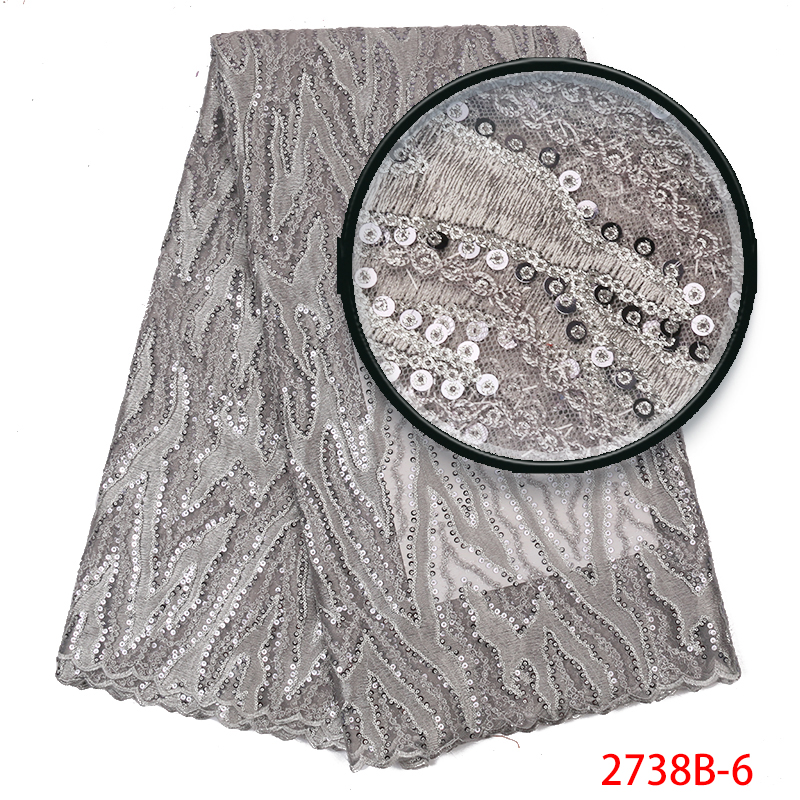 African Sequins Lace Fabric 2019,High Quality Lace Nigerian Lace Fabric,French Party Net Lace Embroidery For Women KS2738B-6