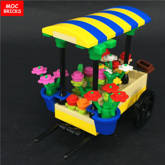 moc bricks flower cart market stall florist model action figure toy