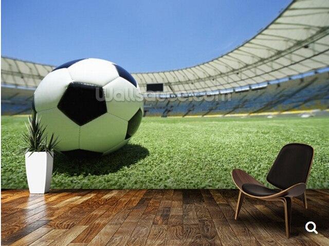 Behang Kinderkamer Voetbal : Custom d stereoscopische behang voetbal voetbal groen gras