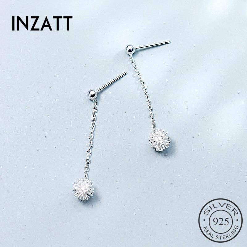 INZATT Elegant 100% 925 Sterling Silver Dandelion Flower Drop Earrings 2018 Fine Jewelry For Women Engagement Party Accessories