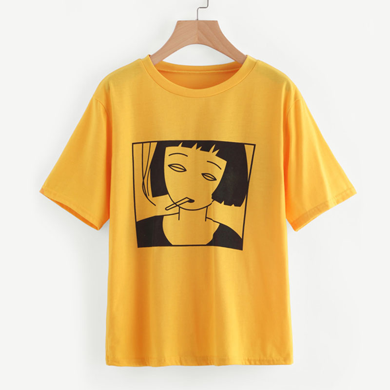 2018 Summer Short Sleeved Girl's   T     shirt   Printed Funny Tops&Tees Round Neck Cotton   Shirt   Oversize Yellow   t     shirt   Women Hipster