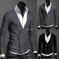 O envio gratuito de Moda Camisola dos homens Double Breasted Lã Cashmere Masculino Casacos Moda outono inverno Camisola M-XL