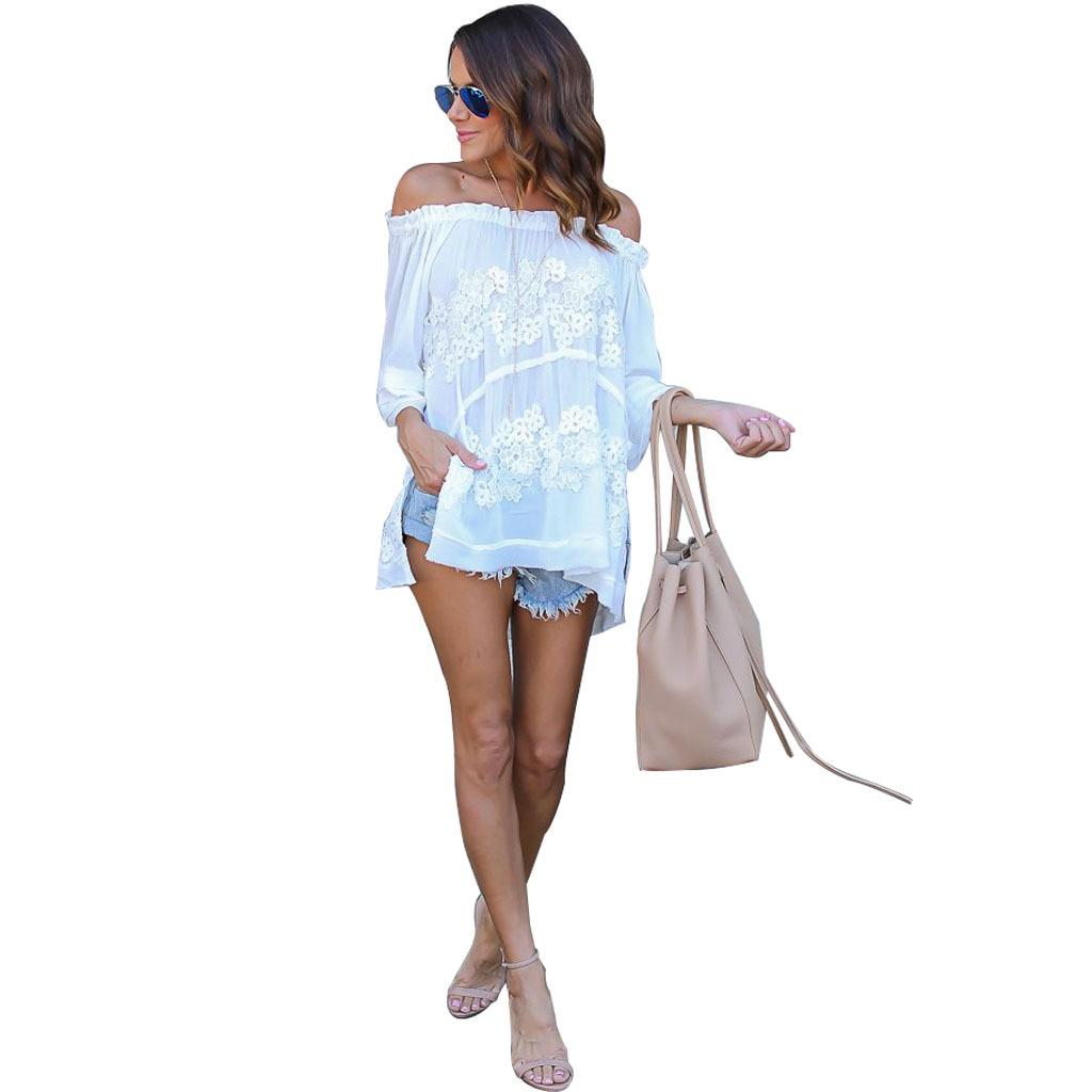 u15dc  u01c8 u0d03white lace blouse  u15d4 women women fashion crochet lace flower side  u2462 split split long shirt
